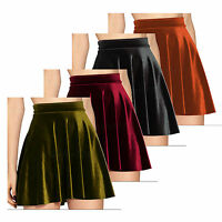 Ladies Plus Size Crushed Velvet Suede Skater Skirt Velveteen Size 14-28