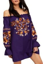 People Enchanted Garden Embroidered off Shoulder Purple Mini Dress S