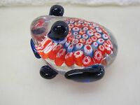 LARGE Murano Art Glass FROG PAPERWEIGHT  Multi-Colored  Millefiori  A5041