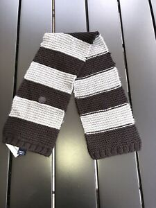 Baby Gap boys striped knitted scarf One Size Black/Grey NEW