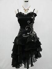 Cherlone Satin Noir et Paillettes Parti Prom cocktail robe de soirée UK 22-24