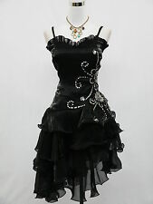 Cherlone  Satin Black Sparkly Party Prom Cocktail Evening Dress UK 22-24