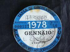 BOLLO 1978 ACI TASSA CIRCOLAZIONE MOTOCICLI MOTOCARROZZETTE GUZZI VESPA  EPOCA