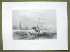 CANADA Lake Ontario BOats Light Tower - 1841 Engraving Print by BARTLETT