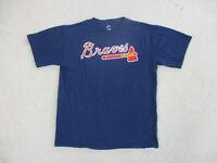Majestic Atlanta Braves Shirt Adult Large Blue Red MLB Baseball Cotton Mens A16