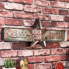 ROCK STAR BASS GUITAR LED Light Metal Tin Signs Bar Pub Cafe Shop Wall Decor Art