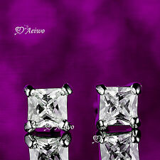 18K WHITE GOLD EARRINGS GF CUBIC ZIRCONIA SPARKLING SQUARE STUD 6MM