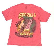 Godzilla Mens M Graphic Tee T Shirt Short Sleeve Red Retro Look King of Monsters