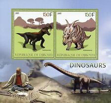 Djibouti 2015 MNH Dinosaurs 2v S/S Inostrancevia Achelousaurus Stamps