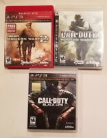 Lot of 3 PS3 Games Call of Duty Black Ops, Modern Warfare 1, Modern Warfare 2