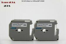 2pks M-K231 MK231 for Brother P-touch PT80 PT70 Black on White Label Tape