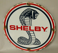 FORD SHELBY MUSTANG PORCELAIN ENAMEL SIGN GAS PUMP VINTAGE STYLE ADVERTISING