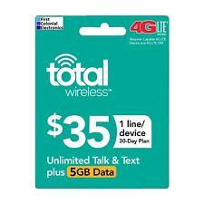 Total Wireless $35/30-Day Plan Refill: Unlimited Talk/Text, 5Gb Data,Fast&Right