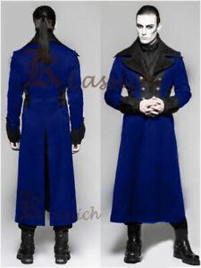 2020 Halloween Men's Steampunk Military Trench Coat Long Velvet Jacket