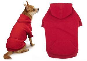 Bright Red Dog Hoodies High Quality Cotton Blend Kangaroo Pocket Sweatshirt