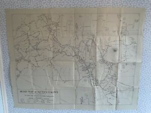 Royal East African Automobilia Association Road Map of Kenya Colony 1920's Linen