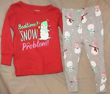 BEDTIME? SNOW PROBLEM!-CARTERS RED & GRAY 2 PIECE SLEEP SET-SIZE 12 MONTHS-NWT