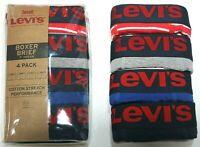 """Men Levi's 4-Pack Boxer Brief Cotton Stretch Underwear (Red-Blue-Gray) 9"""" inseam"""