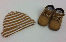 Timberland Bébé Garçon Fille Bottes en Cuir Chapeau Set Marron à Rayures Taille 1.5 Infant