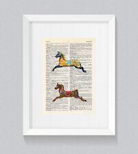 Carousel Fairground Horses Fair Ground Vintage Dictionary Book Print Wall Art