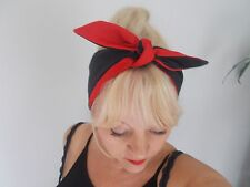 HEAD SCARF HAIR BAND black red lined SELF TIE BOW  NECK ROCKABILLY SWING PIN UP