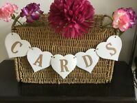 CARDS HEART Banner/Bunting Rustic Handmade Wedding Birthday Party Garland Sign