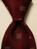 NEIMAN MARCUS Men's 100% Silk Necktie ITALY Designer Geometric Burgundy/Blue EUC