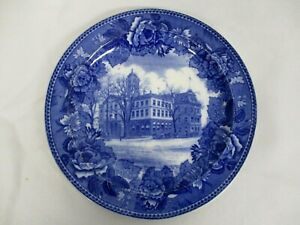 ANTIQUE WEDGWOOD BLUE & WHITE CITY HALL & POST OFFICE HARTFORD CONNECTICUT PLATE