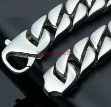 Men's Jewelry High Quality Silver Stainless Steel Bling Curb Cuban Link Bracelet