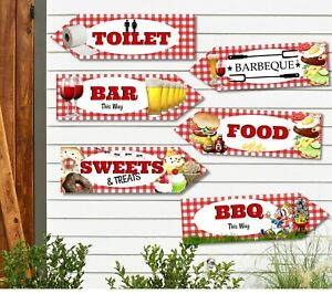 6 BBQ Summer Garden Party Decoration Arrows