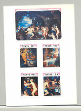 Nevis #635-639 Rubens, Art 4v. + 1v. s/s imperf proofs mounted in folder