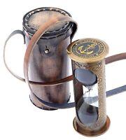 Antique Brass Hourglass Nautical Maritime Ship Decorative Sand Timer Clock 5''