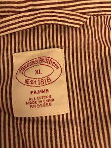 Brooks Brothers Men's Burgundy Striped Broadcloth Pajamas Set XL