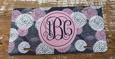 Monogram License Plate Pink Floral Flowers Personalized Car Tag New