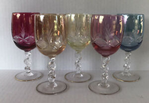 Vintage Bohemian Cut To Clear Crystal Multi Color Wine Glasses (5) Twisted Stem