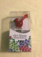 GLOBAL VILLAGE GLASS STUDIO ~ CARDINAL BIRD GLASS ART BOTTLE STOPPER ~ NEW