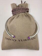 David Yurman Sterling Silver Amethyst and Diamonds 5mm Cable Cuff Bracelet