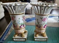 PAIR HAND PAINTED MANGAMI MARKED SEVRES FOOTED MANTLE VASES