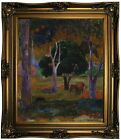 Gauguin Landscape with a Pig and a Horse Framed Canvas Print Repro 20x24