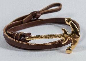 18K Gold Plated Anchor Bracelet - Brown Leather