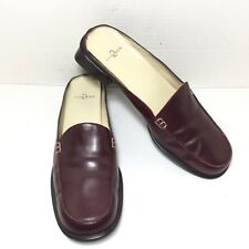 Women's Anne Klein Slip on Leather Burgundy Moc Apron Low Heel Mules Size 8.5 M