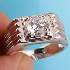 Men Solid Sterling Silver Dress Ring Sz 11 Round Clear Cubic Zirconia Stone