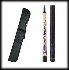 New Athena ATH31 Pool Cue Stick - Black w/Purple Tribal Flower 17-21 oz & Case