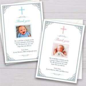 Personalised Christening Baptism Thank you cards Boy or Girl crucifix cross