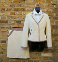 Moschino Jeans Women Cream & Multicolored Trim Jacket Skirt 2 Piece Outfit UK 12