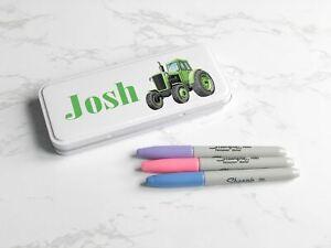 Green tractor, bunting, pencil tin, metal tin, personalised, pencil case, teache