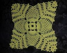 Handmade Vintage Bright Yellow Crocheted Doilie. 22cm. Beautifully detailed.