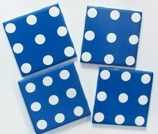 New listing Blue Coaster Set of 4/Blue Polka-Dotted Coasters/Hand Painted Ceramic Coasters