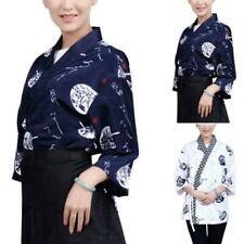 Unisex Sushi Chef Coats Japanese Kimono Half Sleeve Tops Restaurant Jacket 2019