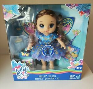2020 Baby Alive Once Upon A Fairy Lily Doll Brunette Brown Hair Dress Wings Wand